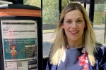 Miriam Cates MP by bus stop Penistone and Stocksbridge